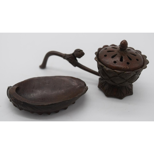 4257 - A Japanese small bronze Incense burner and a shell dish 11cm (3)....