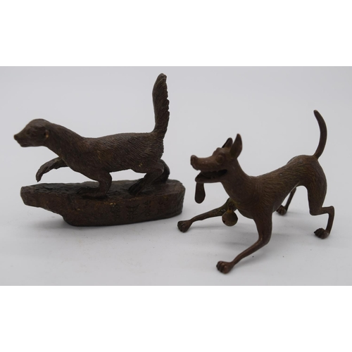 4258 - A Japanese small bronze dog and a skunk 7cm (2)....