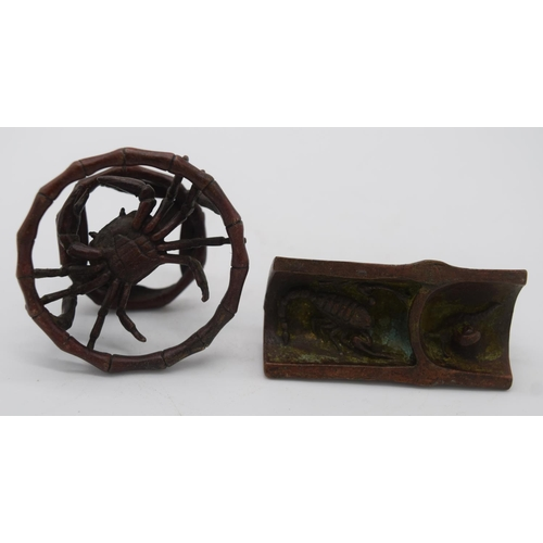 4260 - A Japanese small bronze crab pot  and a locust 6.5 cm (2)....