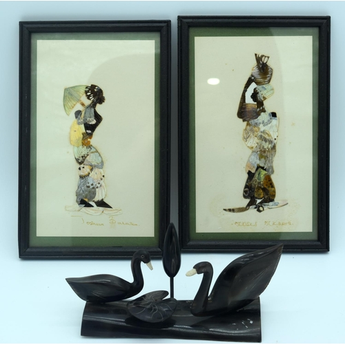 4268 - Two African Butterfly pictures and a horn sculpture of ducks 12 x 20.5 cm(3) ....