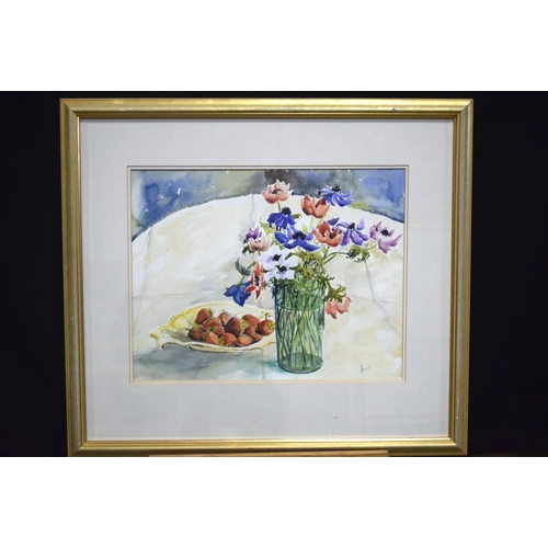 4292 - A large watercolour of Strawberries out of season  by Annis Anderson and another watercolour largest...
