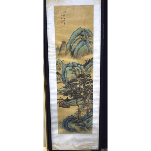 4303 - Framed Chinese watercolour of a mountainous landscape and another 65 x 24 (2)....
