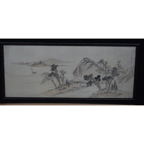 4309 - Framed Chinese silk village scene and lakes 31 x 78 cm...