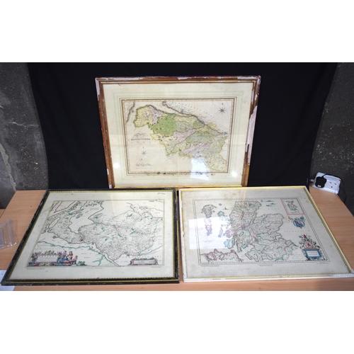 4310 - Three framed  Lithographs of 17th century Scottish maps 37 x 49 cm (3)....