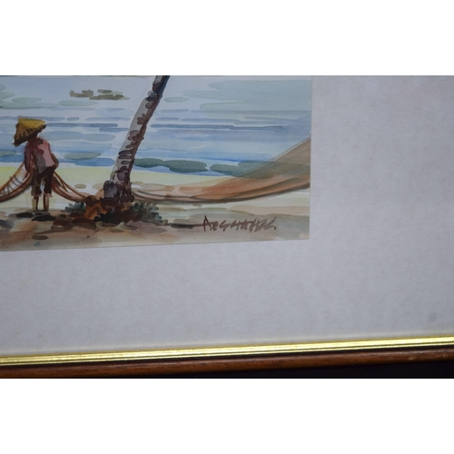 4315 - Framed watercolours of Fishermen in South East Asia 27 x 35cm (2)....