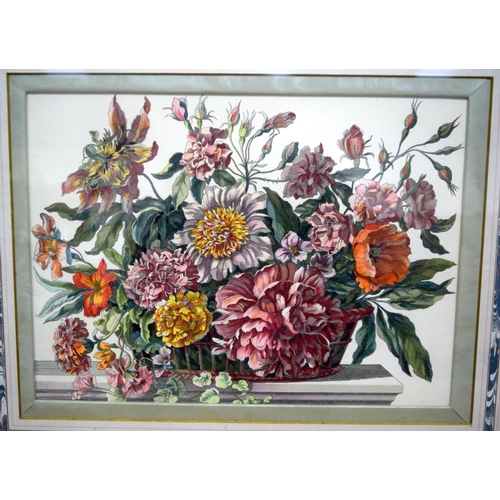 4324 - Framed colour lithograph of flowers 24 x 34cm...