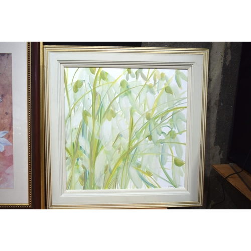 4326 - A framed oil on board N D'Agula and a large print of flowers...