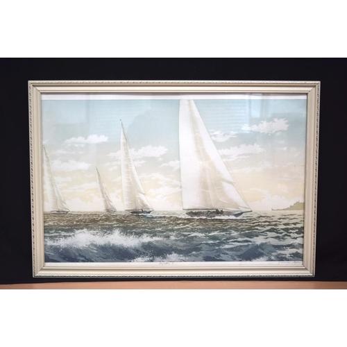 4327 - A framed watercolour entitled Regatta 1  46 x 75cm....
