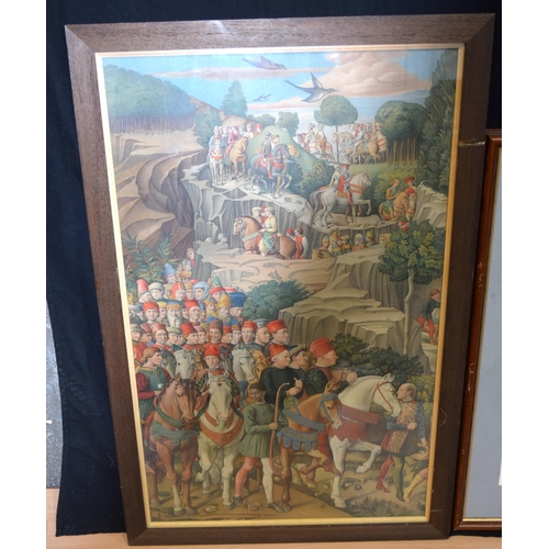 4333 - A framed Print of a mediaeval procession and another of an Peregrine  falcon  75 x 46cm...