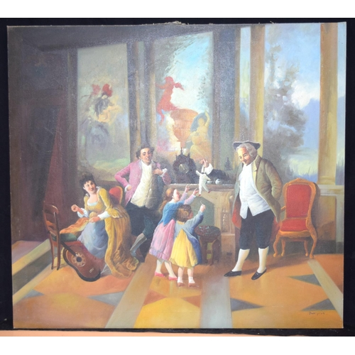 4334 - Large oil on canvas of parlour games 79 x 86 cm....