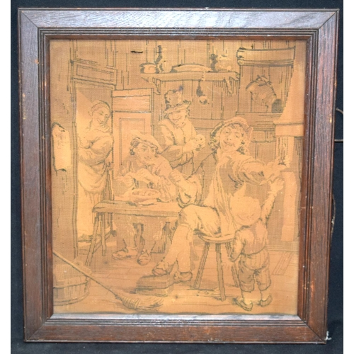 4340 - A framed tapestry of a interior scene 35 x 31 cm....