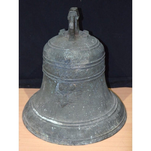 4359 - A large Bronze bell dated 1854  40 x 37 cm....