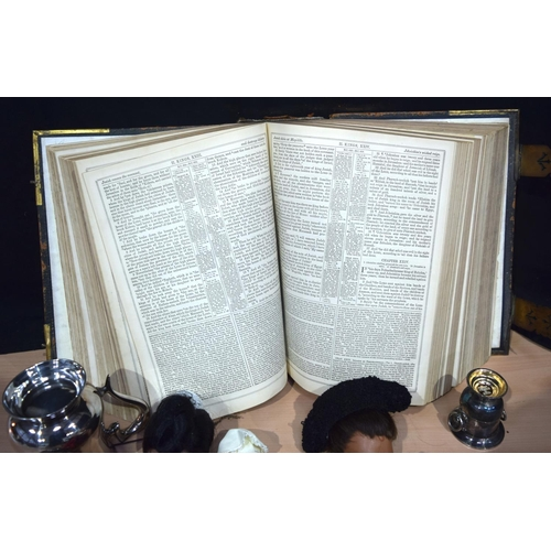 4367 - Miscellaneous collection of silver plate, a large bible and dolls Qty....