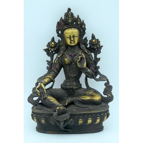4369 - A Chinese Tibetan Bronze Buddha 22cm ....