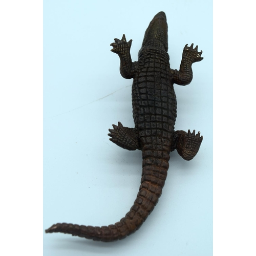 4376 - A small Japanese bronze Crocodile  14cm....
