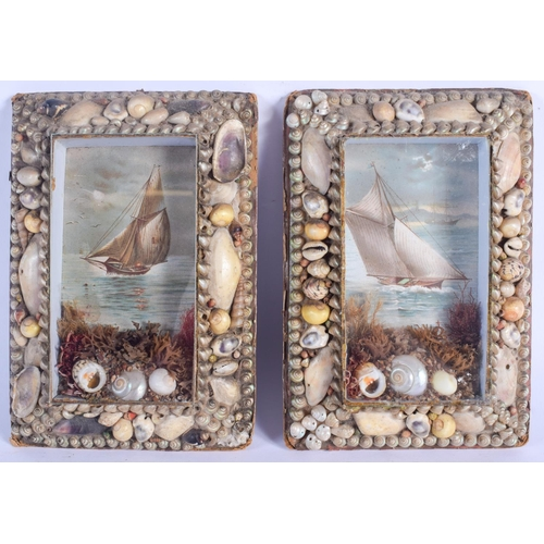 448 - A RARE PAIR OF LATE VICTORIAN SHELL ENCRUSTED SAILORS MARITIME PLAQUES decorated with boats. 19 cm x...