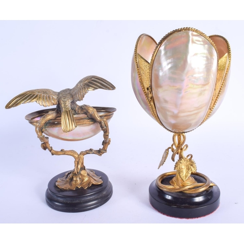 450 - A 19TH CENTURY FRENCH PALAIS ROYALE MOTHER OF PEARL EAGLE DISH together with a similar candlestick. ...