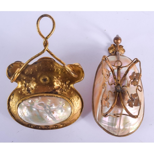 451 - TWO 19TH CENTURY FRENCH PALAIS ROYALE MOTHER OF PEARL CHAMBERSTICK. Largest 11 cm x 7 cm. (2)...