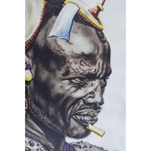 454 - J P Ludu (20th Century) African, Watercolour, Pair of portraits. Image 34 cm x 22 cm....