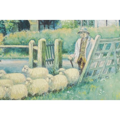 455 - European School (C1900) Watercolour, Naive sheep scene. Image 48 cm x 38 cm....