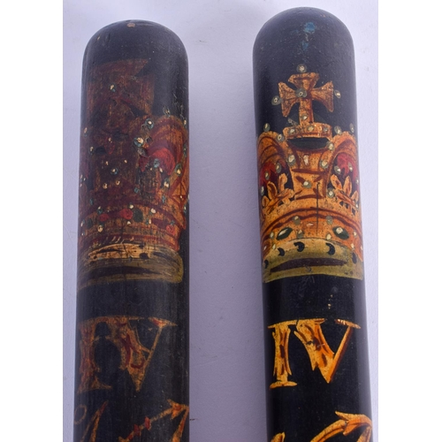 457 - A PAIR OF WILLIAM IV SPECIAL CONSTABLE POLICE TRUNCHEONS. 46 cm long....