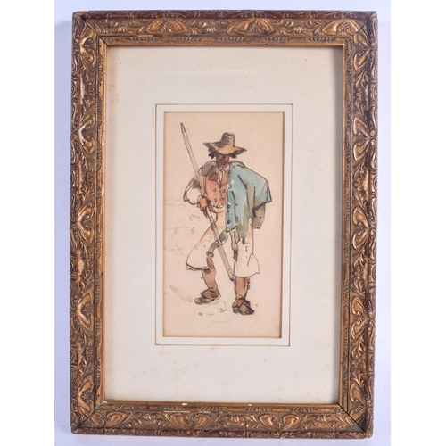 465 - European School (19th Century) Watercolour, Standing Male. Image 17 cm x 7.5 cm....