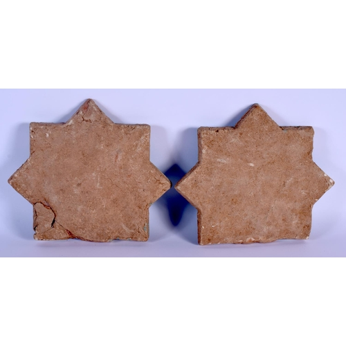 50 - TWO 12TH/13TH CENTURY PERSIAN KASHAN TURQUOISE GLAZED POTTERY TILES. 28 cm x 22 cm. (2)...