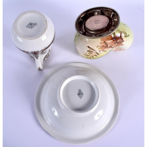 51 - A VICTORIAN SHELL FORM POTTERY SPOON WARMER together with a Grecian revival wash jug and basin. Larg...