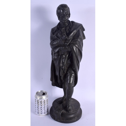 520 - A LARGE 19TH CENTURY EUROPEAN SPELTER FIGURE OF A MAN modelled holding flowers. 49 cm high....