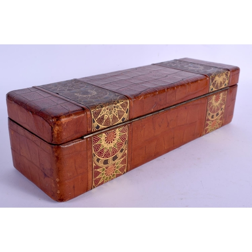 530 - AN EARLY 20TH CENTURY CONTINENTAL LEATHER BOX with secessionist inspired decoration. 30 cm x 9 cm....