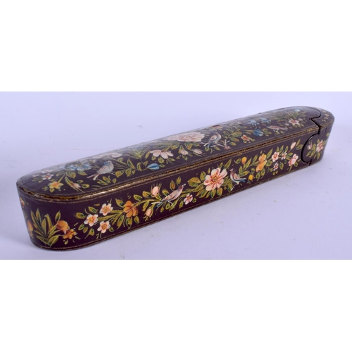 531 - A 19TH CENTURY PERSIAN QAJAR LACQUER SLIDING PEN BOX painted with birds and flowers. 21 cm wide....