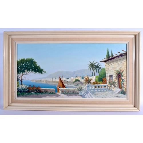 552 - Continental School (20th Century) Oil on canvas, Coastal scene. Image 38 cm x 72 cm....