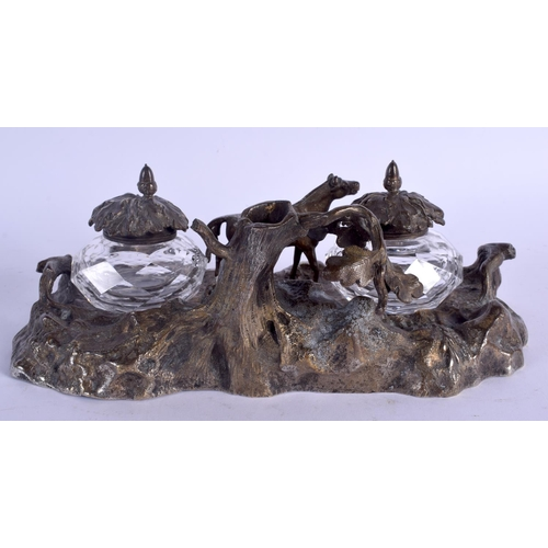 566 - AN UNUSUAL 19TH CENTURY EUROPEAN EQUESTRIAN BRONZE INKWELL formed with a standing horse. 24 cm x 13 ...
