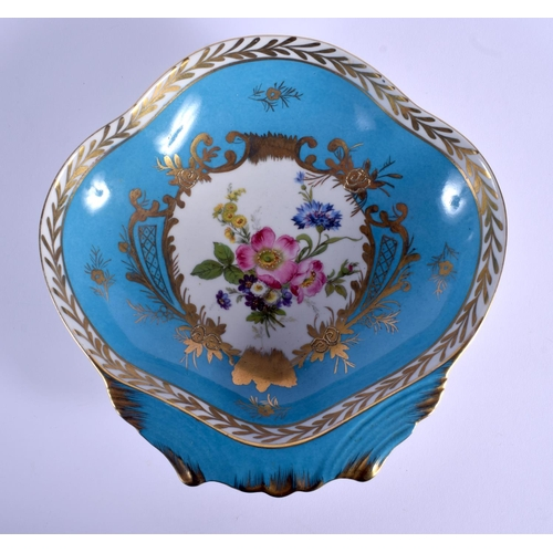 57 - AN EARLY 20TH CENTURY FRENCH SEVRES STYLE PORCELAIN SHELL SHAPED DISH. 21 cm x 19 cm....
