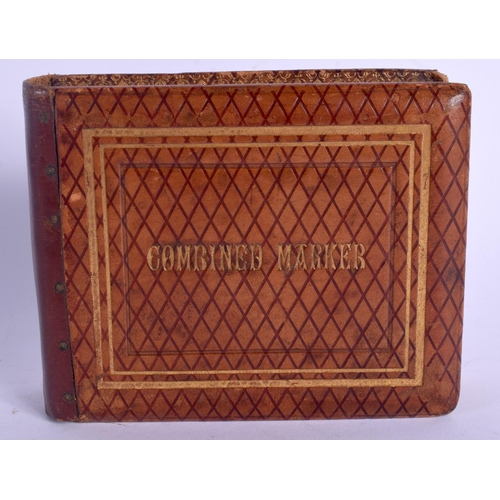 574 - A CHARMING EDWARDIAN LEATHER BOUND COMBINED WHIST MARKER SET. 24 cm wide extended....