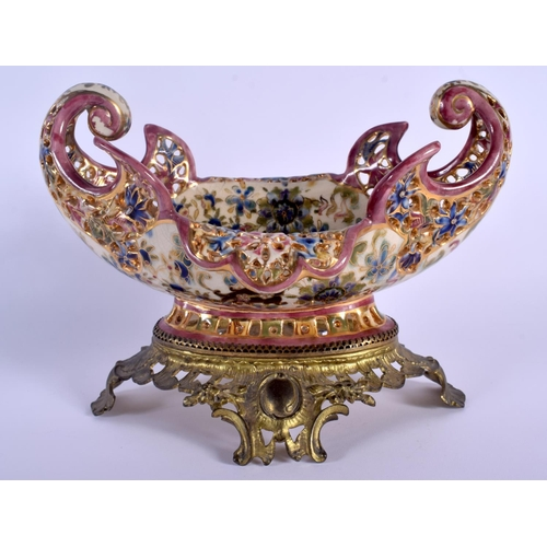 58 - A 19TH CENTURY HUNGARIAN FISCHER POTTERY BOWL upon a gilt metal base. 24 cm x 18 cm....