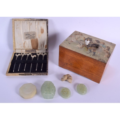 589 - A RARE WIND UP MUSICAL BOX together with a set of cocktail forks etc. (qty)
