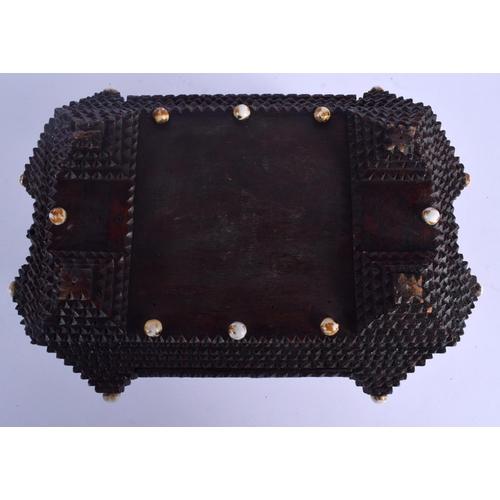 602 - A TRAMP ART CIGAR BOX SOUVENIR BOX. 27 cm x 18 cm....