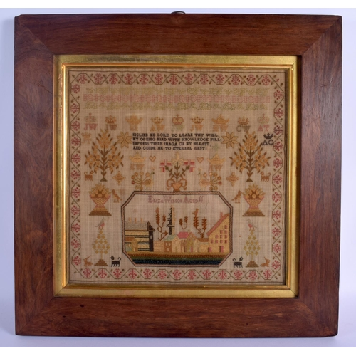 604 - AN ANTIQUE SAMPLER by Eliza Wilson. Image 34 cm square....