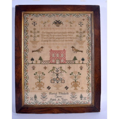 605 - AN ANTIQUE SAMPLER by Harriet Coney. Image 40 cm x 30 cm....
