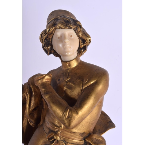 658 - Auguste Moreau (1834-1917) Bronze and ivory, musicians. 42 cm high....