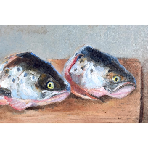 664 - European School (C1900) Oil on canvas, pair of trout. Image 36 cm x 24 cm....