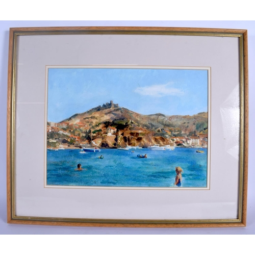 665 - European School (20th Century) Watercolour, Mediterranean coast. Image 34 cm  26 cm....