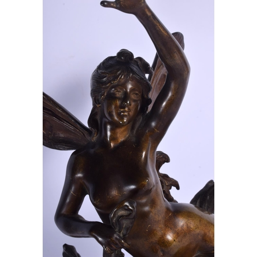 669 - Auguste Moreau (1834-1917) Gilt bronze, Winged maiden. 50 cm high....