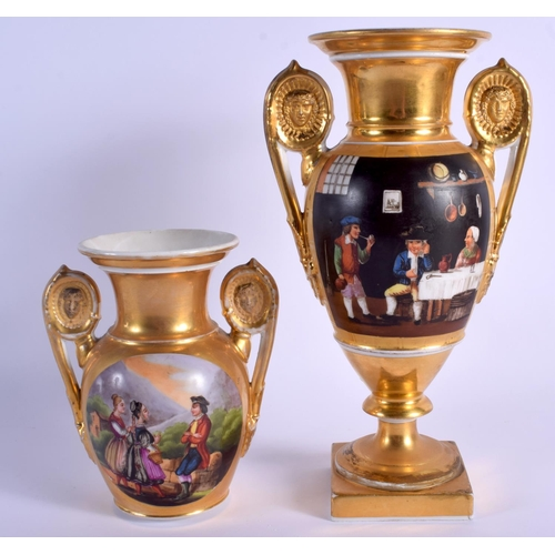 67 - A LARGE EARLY 19TH CENTURY FRENCH PARIS PORCELAIN VASE together with a similar smaller vase. Largest...