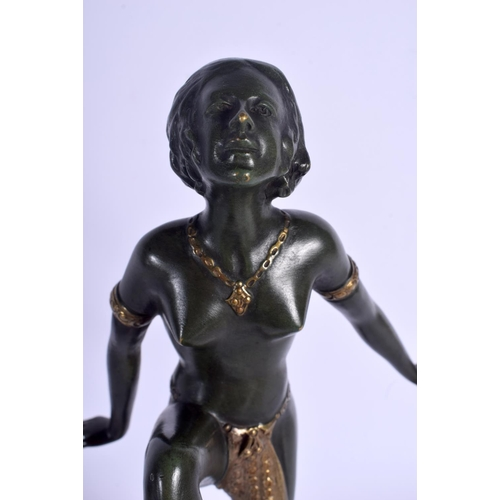 694 - French School (C1910) Bronze, Dancing female. 35 cm high overall....