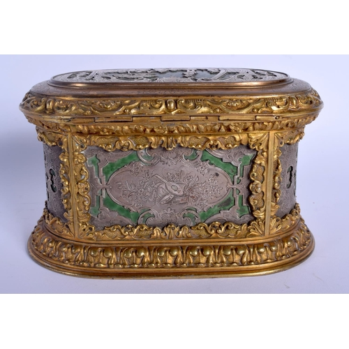 695 - AN 18TH CENTURY EUROPEAN SILVERED BRONZE AND LACQUER CASKET decorated with figures and landscapes. 1...
