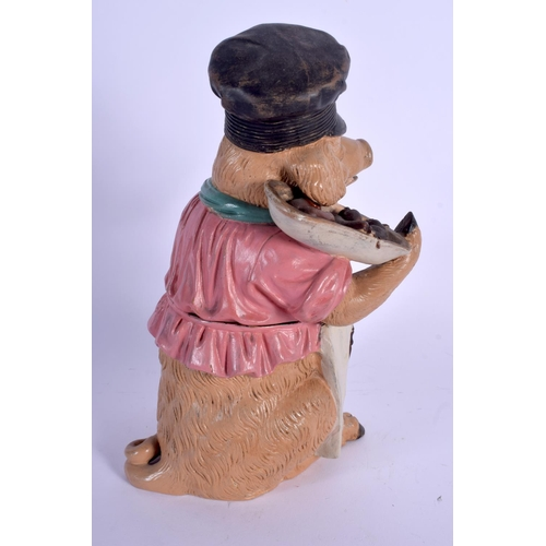 704 - AN ANTIQUE AUSTRIAN TOBACCO JAR AND COVER in the form of a pig holding sausages. 22 cm high....