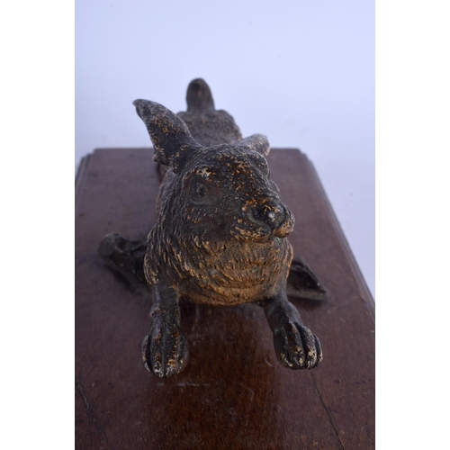 717 - A 19TH CENTURY AUSTRIAN COLD PAINTED BRONZE HARE modelled in a leaping stance. Bronze 25 cm wide....