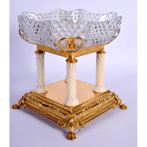 718 - A LOVELY EDWARDIAN CARVED IVORY AND GILDED METAL WALKER AND HALL CENTREPIECE with cylindrical suppor...